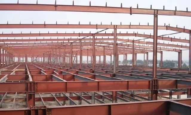 Red Construction Steel Structure ,High Rise Garage Frame for Industrial Building